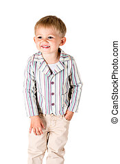 Boy shot in the studio on a white background posing