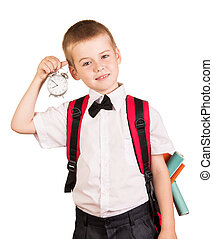 Boy should go to school isolated on white background. - The ...