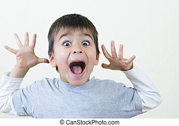 Boy Shouting - Little boy shouting and gesturing