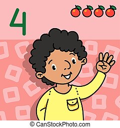 Boy showing four by hand Counting education card 4
