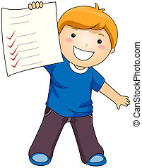 Boy showing his Test Paper with Clipping Path