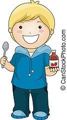 Boy showing Syrup Vitamins
