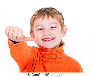 Boy showing thumb up