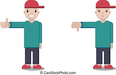 Boy showing thumbs up and down