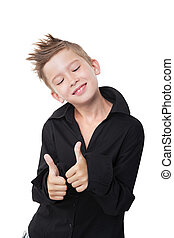 Boy showing thumbs up.