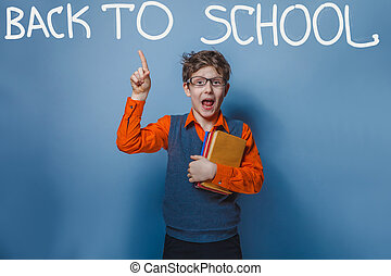 Boy showing thumbs up sign shaggy books back to school