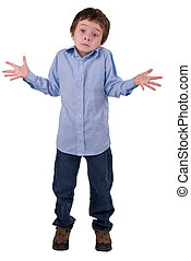 Boy shrugging