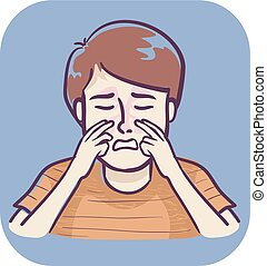 Boy Sick Symptom Sinus Infection Illustration