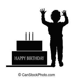 boy silhouette illustration with birthday cake