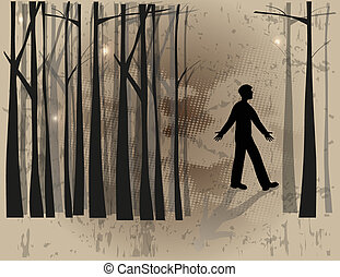 Boy silhouette lost in the woods