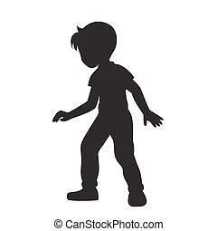 Boy silhouette vector.