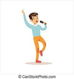 Boy Singing, Creative Child Practicing Arts In Art Class, Kids And Creativity Themed Illustration