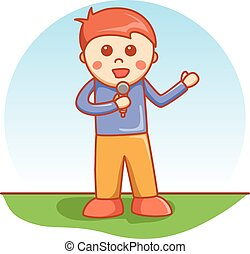 boy singing doodle cartoon