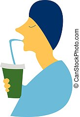Boy sipping cold coffee vector or color illustration - A boy...