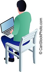 Boy sit on chair icon, isometric style