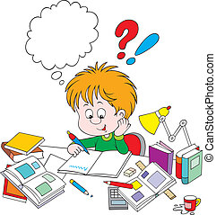 homework - Boy sitting and writing his homework