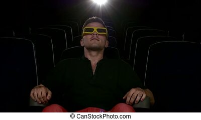 boy sitting at cinema, 3D stereo glasses. Close up