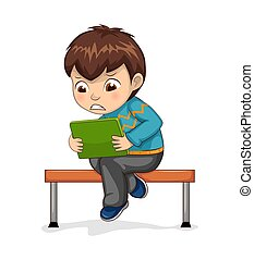 Boy Sitting in Bench Playing Vector Illustration