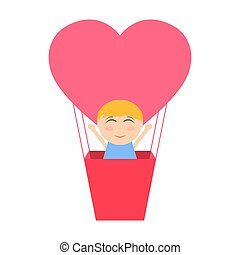 Boy sitting in hot air balloon in the shape of heart