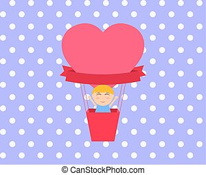 Boy sitting in hot air balloon in the shape of heart vector