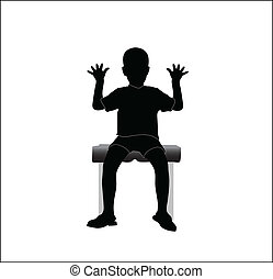 boy sitting on a chair with hands u