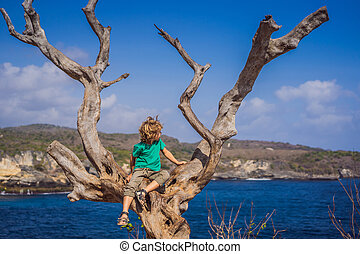 Boy sitting on a tree against the background of the sea Angel's Billabong in Nusa Penida, Bali, Indonesia. Travel to Bali with kids concept