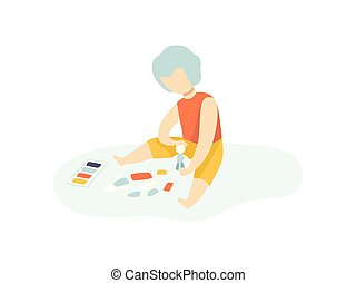 Boy Sitting on Floor and Making Figure from Plasticine and Playing, Kids Creativity, Education, Development Vector Illustration