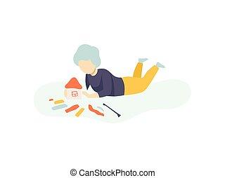 Boy Sitting on Floor and Making House from Plasticine, Kids Creativity, Education, Development Vector Illustration