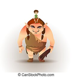Boy sitting on giants head. Fairytale vector illustration
