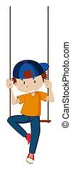Boy sitting on swing