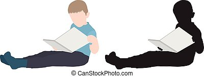Boy sitting reclining and reading a book, silhouette. Vector illustration