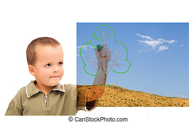 Boy sketching a green future - concept for environment and nature conservation