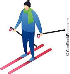 Boy skiing icon, isometric style