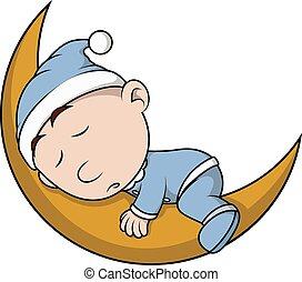 boy sleep on moon