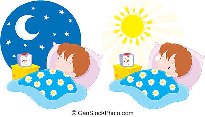 Boy sleeping and waking up - little boy lying in his bed and...