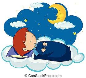 Boy sleeping at night