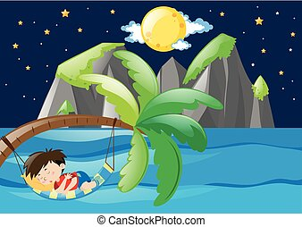 Boy sleeping by the sea at night
