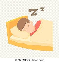 Boy sleeping icon, cartoon style