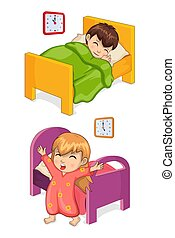 Boy Sleeping in Bed Collection Vector Illustration