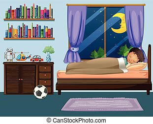 Boy sleeping in bedroom at night
