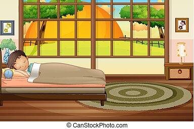 Boy sleeping in bedroom