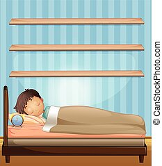 Boy sleeping in bedroom