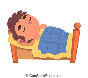 Boy Sleeping in His Bed, Schoolboy Daily Routine Activity Cartoon Vector Illustration