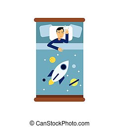 Boy sleeping in his bed, view from above cartoon vector illustration