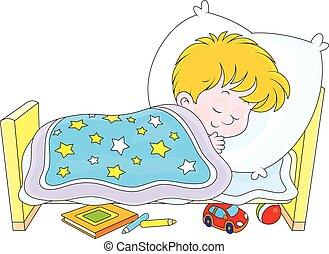 Boy sleeping - Little boy sleeping in his small bed