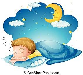 Boy sleeping on blue blanket