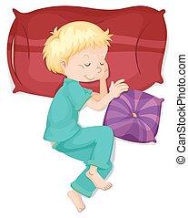Boy sleeping on red pillow