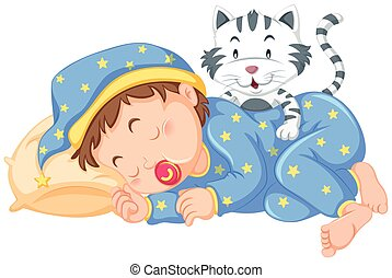 Boy sleeping with little cat