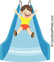 Boy Slide Playground - Cute little child boy playing on blue...