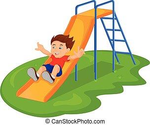 Boy sliding in the Park